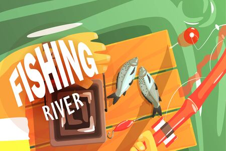 Fishing On The River Illustration With Only Hands Visible Illustration