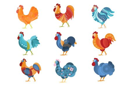 Rooster Similar Drawings Set Colored In Different Styles. Cool Graphic Design Farm Birds With Simple Bright Patterns. Stylized Flat Vector Illustrations Isolated On White Background. Illustration