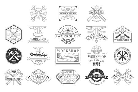 Wood Workshop Black And White Emblems. Classic Style Vector Monochrome Graphic Design Icon Illustration