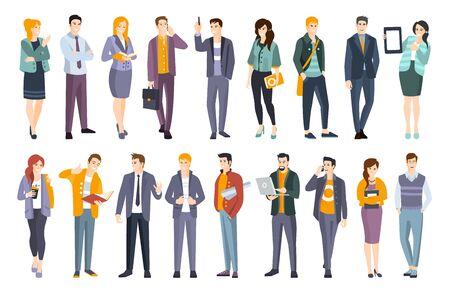 Jonge professionele zelfverzekerde mensen instellen. Man en vrouw die moderne kledingvoorschriften voor kantoorkleding dragen, platte illustraties Vector Illustratie