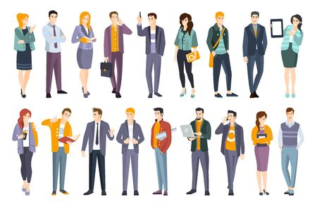 Set di giovani professionisti fiduciosi. Uomo e donna che indossano illustrazioni piatte di abbigliamento da ufficio moderno codice di abbigliamento Vettoriali