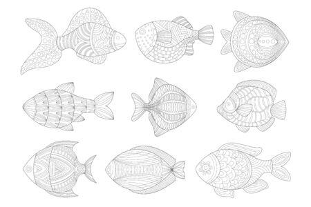 Tropical Fish Set Adult Coloring Book Illustration