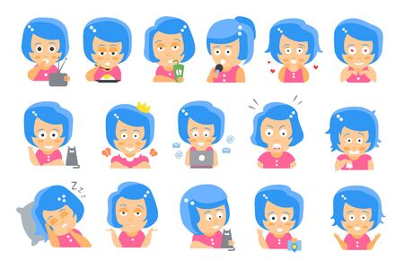Little blue Head Girl Cute Portrait Icons  イラスト・ベクター素材