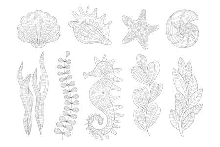 Underwater Nature Set Adult Coloring Book Illustration Çizim