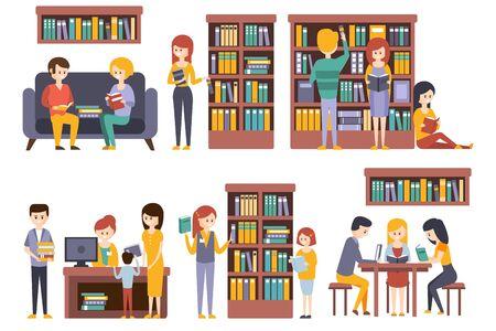 Bibliothek und Buchhandlung mit Menschen, die Bücher auswählen Vektorgrafik