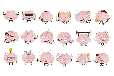 Brain Different Activities And Emotions Icon Set. Comic Style Outlined Hand Drawn Emojis Isolated On White Background. Stok Fotoğraf - 128165641