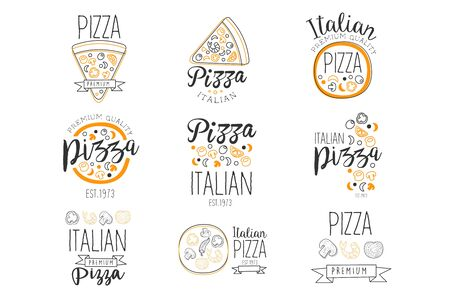 Italian Pizza Fast Food Promo Labels Collection Ilustrace