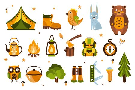 Camping Associated Symbols Illustration. Set Of Hiking And Camping Equipment And Related Objects