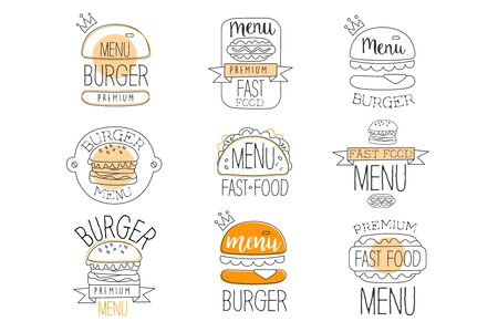 Burger Street Food Promo Labels Collection. Fast Food Of Premium Quality Advertisement Sign Set. Light Color Flat Cute Illustration