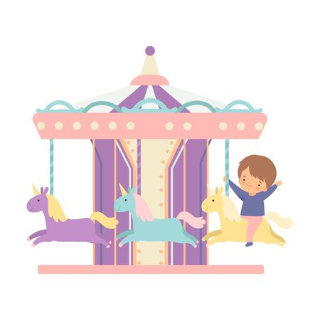 Cute Little Boy Riding at Carousel with Horses or Merry Go Round, Happy Kid Having Fun in Amusement Park Vector Illustration on White Background. Stock Illustratie