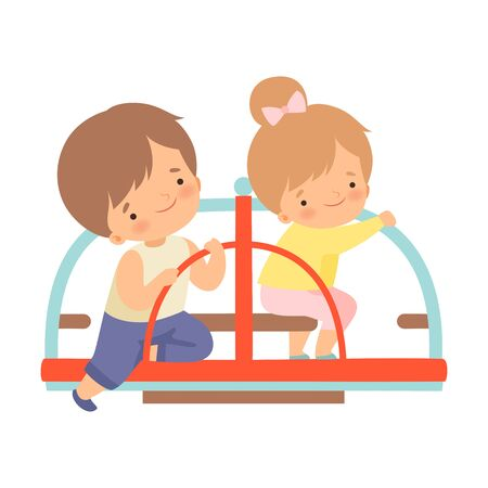 Happy Kids Having Fun at Merry Go Round in Park or Playground Vector Illustration on White Background.