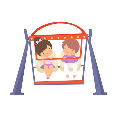 Happy Kids Having Fun at Attraction in Amusement Park Vector Illustration on White Background.