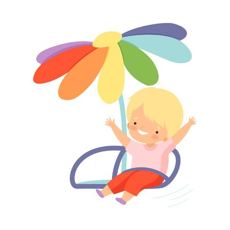 Cute Happy Kid Swinging at Carousel, Happy Boy Having Fun in Amusement Park Vector Illustration on White Background.