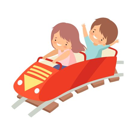 Cute Boy and Girl Riding on Roller Coaster Car, Happy Kid Having Fun in Amusement Park Vector Illustration on White Background. Illustration