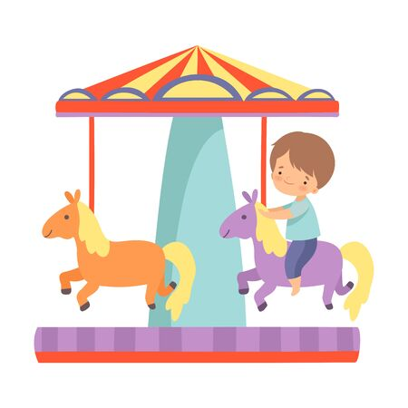 Cute Little Boy Riding at Carousel with Horses, Happy Kid Having Fun in Amusement Park Vector Illustration on White Background.