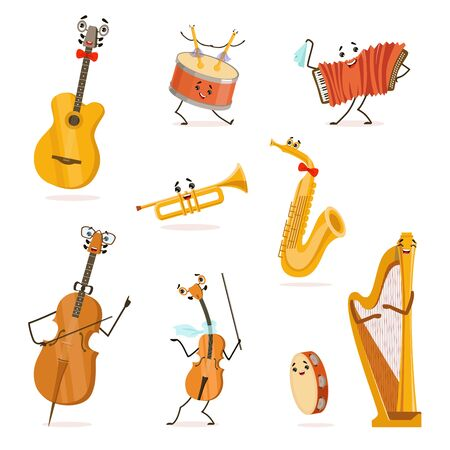 Funny Musical Instruments Cartoon Characters with Funny Faces Set, Cello, Saxophone, Trumpet, Accordion, Guitar, Tambourine, Violin, Drum, Harp, Violoncello Vector Illustration on White Background.