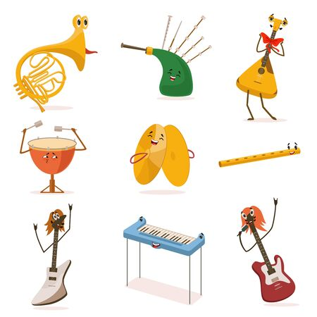 Funny Musical Instruments Cartoon Characters with Funny Faces Set, Guitar, Synthesizer, Flute, Bagpipes, Balalaika, Cymbals, Drum Vector Illustration on White Background.