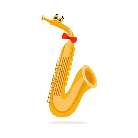 Funny Saxophone Musical Wind Instrument Cartoon Character Vector Illustration on White Background. Иллюстрация