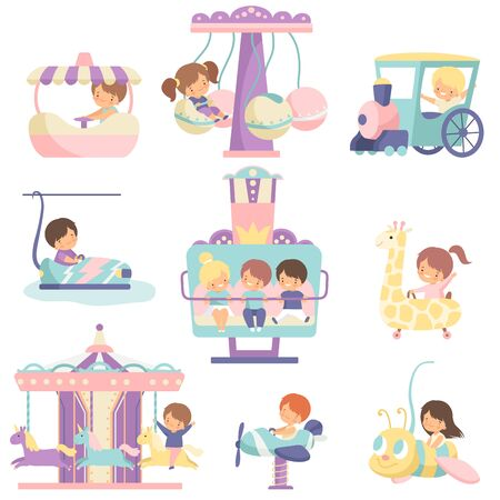 Cute Boys and Girls Having Fun at Attractions in Amusement Park Set Vector Illustration on White Background.