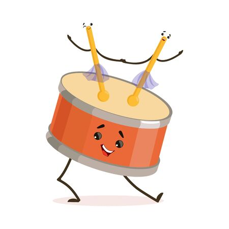 Funny Drum Musical Instrument Cartoon Character Playing with Sticks Vector Illustration on White Background.