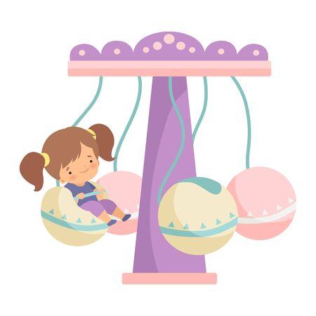 Cute Little Girl Having Fun at Carousel in Amusement Park Vector Illustration on White Background.