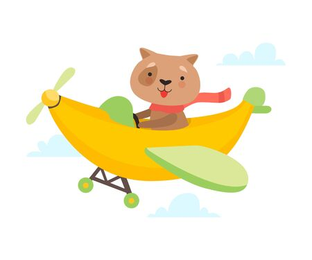 Cute Dog Flying on Airplane Made of Banana, Funny Adorable Animal in Transport Vector Illustration on White Background.