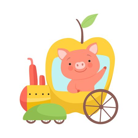 Cute Little Pig Riding Toy Train Made of Apple, Funny Adorable Animal in Railway Transport Vector Illustration Foto de archivo - 127639765