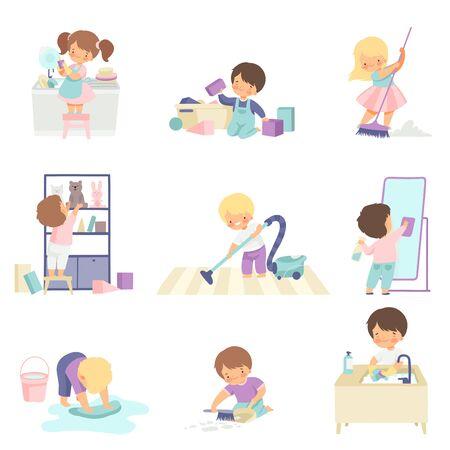 Enfants adorables mignons faisant des tâches ménagères à la maison, mignons petits garçons et filles lavant le sol, vaisselle, nettoyant l'illustration vectorielle de jouets sur fond blanc.