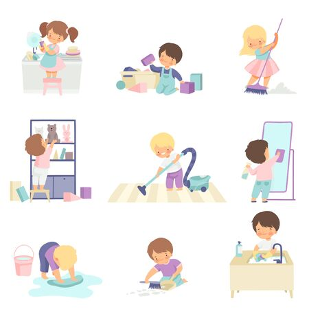 Schattige schattige kinderen doen huishoudelijk werk thuis Set, schattige kleine jongens en meisjes wassen vloer, afwas, opruimen van speelgoed vectorillustratie op witte achtergrond.