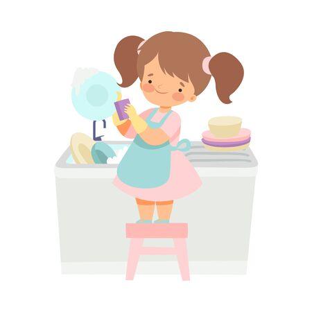 Ragazza carina lavare i piatti, adorabile bambino che fa le faccende domestiche a casa illustrazione vettoriale su sfondo bianco.