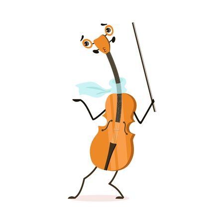 Funny Violin Musical Instrument Cartoon Character Vector Illustration on White Background. Illustration