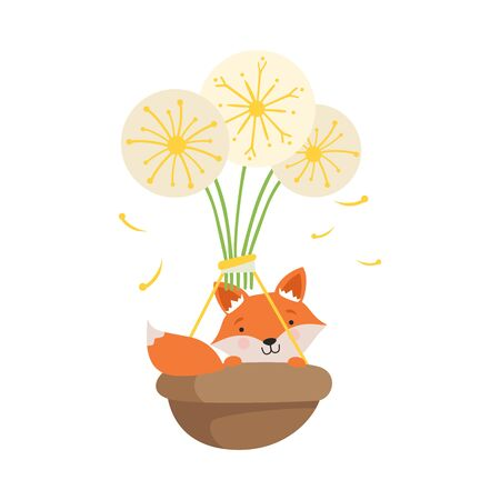 Little Fox Flying in Basket with Dandelions, Funny Adorable Animal in Transport Vector Illustration on White Background. Stock Illustratie