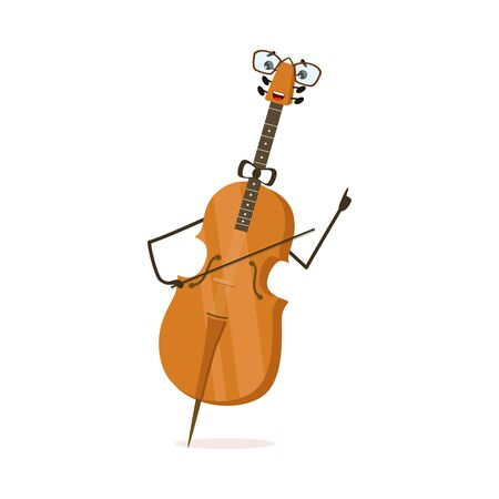 Funny Cello String Musical Instrument Cartoon Character Vector Illustration on White Background. Illustration