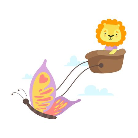 Little Lion Flying in Basket with Butterfly, Funny Adorable Animal in Transport Vector Illustration on White Background.