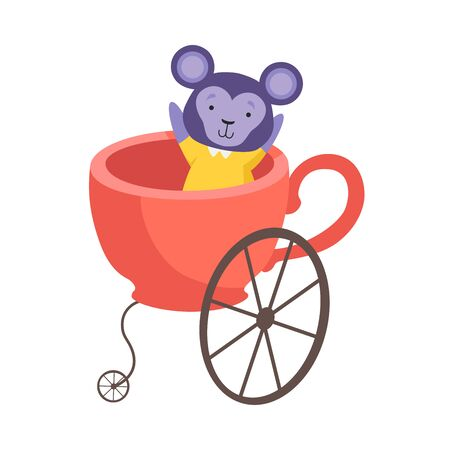 Cute Little Monkey Sitting in Coach Made of Cup, Funny Adorable Animal in Transport Vector Illustration