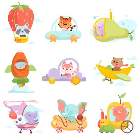 Cute Baby Animals in Transport Set, Raccoon, Tiger, Octopus, Koala Bear, Fox, Dog, Hippo Elephant, Pig Riding Cars, Flying By Airplanes Vector Illustration