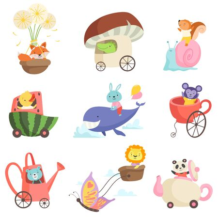 Cute Baby Animals in Transport Set, Fox, Crocodile, Squirrel, Chicken, Bunny, Bear, Lion, Monkey, Panda Bear Riding, Flying and Swimming By Fantastic Transport Vector Illustration