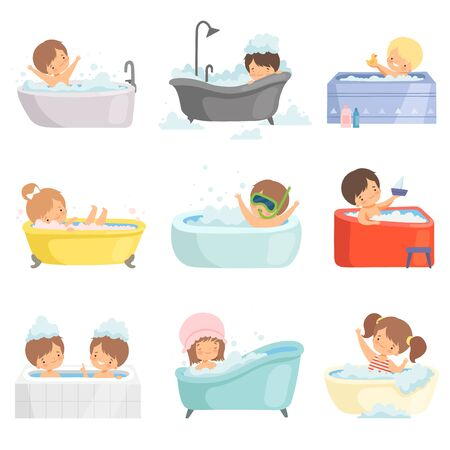 Cute Little Kids Bathing and Having Fun in Bathtub Set, Adorable Boys and Girls in Bathroom, Daily Hygiene Vector Illustration on White Background.