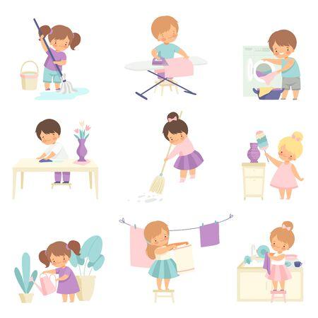 Bambini adorabili carini che fanno le faccende domestiche a casa insieme, ragazzini e ragazze carini che spazzano il pavimento, stirano i vestiti, lavare i piatti, innaffiare le piante d'appartamento illustrazione vettoriale su sfondo bianco.