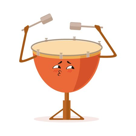 Funny Drum Percussion Musical Instrument Cartoon Character Vector Illustration on White Background.
