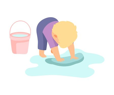 Cute Little Boy Washing Floor with Rag and Bucket, Adorable Kid Doing Housework Chores at Home Vector Illustration on White Background. Ilustrace