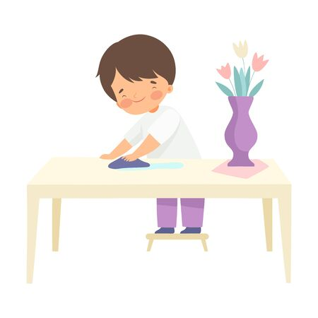 Boy Wiping Table with Rag, Kid Helping With Home Cleanup Vector Illustration on White Background.