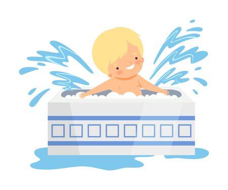 Cute Little Boy Bathing and Having Fun in Bathtub, Adorable Kid in Bathroom, Daily Hygiene Vector Illustration on White Background.