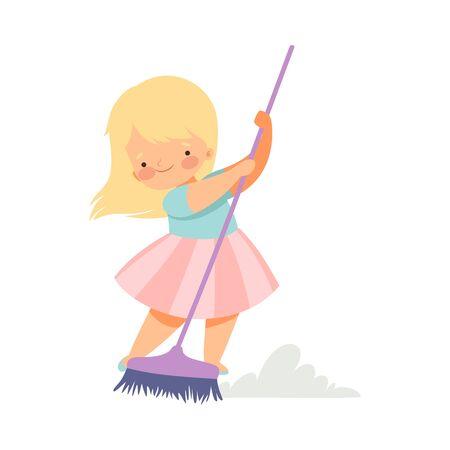 Ładna blondynka mała dziewczynka zamiatanie podłogi z miotłą w domu, urocze dziecko robi prace domowe w domu wektor ilustracja na białym tle. Ilustracje wektorowe