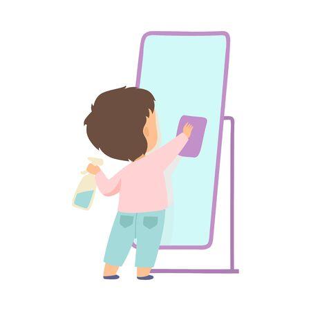 Schattige kleine jongen schoonmaak spiegel door Rag, schattig kind huishoudelijk werk doen thuis vectorillustratie op witte achtergrond.