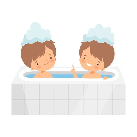 Cute Little Boys Taking Bath in Bathtub Full of Foam, Adorable Kids in Bathroom, Daily Hygiene Vector Illustration on White Background.