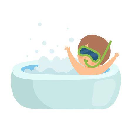 Cute Boy Taking Bath and Playing with Snorkel Mask in Bathtub Full of Foam, Adorable Kid in Bathroom, Daily Hygiene Vector Illustration Illustration