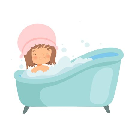 Cute Little Girl with Shower Cap Taking Bath in Bathtub Full of Foam, Adorable Kid in Bathroom, Daily Hygiene Vector Illustration on White Background.