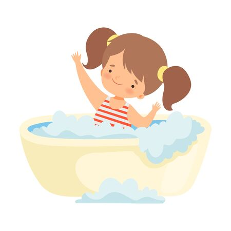Cute Happy Little Girl in Swimsuit Taking Bath in Bathtub Full of Foam, Adorable Little Kid in Bathroom, Daily Hygiene Vector Illustration on White Background.