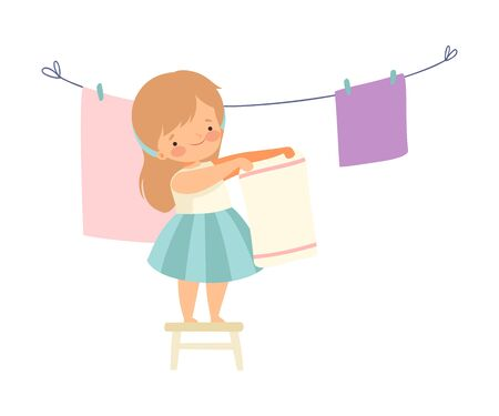 Cute Girl Hanging Clean Wet Linnen Out to Dry, Adorable Kid Doing Housework Chores at Home Vector Illustration on White Background.